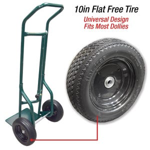 10in Universal Flat Free Tire for Hand Truck Replacement Wheels