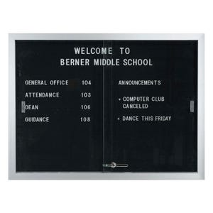 Indoor Letter Board Display Cabinet with Sliding Doors
