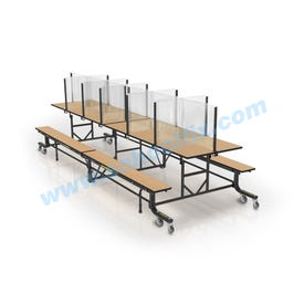 Safety Sneeze Guard for 12ft Rectangular Cafeteria Table CBV12