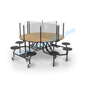 Safety Sneeze Guard for 60in Round Cafeteria Table CBV60