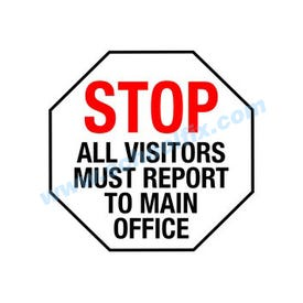 Stop All Visitors Report To Main Office Static Cling For Ds2