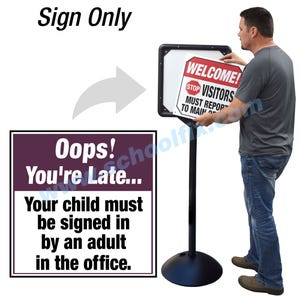 Oops You're Late Sign In at Office Interchangeable Directional Sign for DS7 Stanchion DS732 - Purple