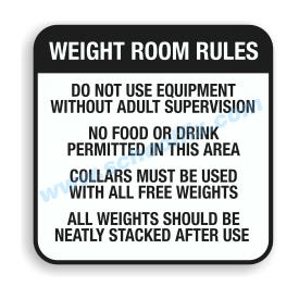 24in. x 24in. Weight Room Rules Aluminum Sign E29