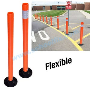 Flexible Epoxy-Mount High Visibility Traffic Delineator Posts in Orange