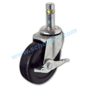 Friction Ring Single Solid Rubber Wheel Casters w/Brake 151WB