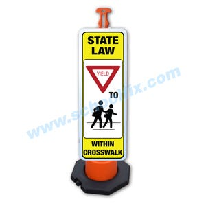State Law Yield to Pedestrians Within Crosswalk 48in. H Reflective Sign & Post Kit Part No. FS824 FS822