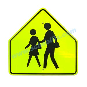30in. MUTCD Compliant S1-1 Pedestrian Crossing Crosswalk Aluminum Sign Part No. MC42