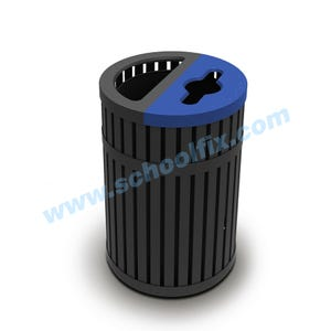 45 Gal Recycling Container Trash Can with Vertical Slats with Lid K44TR