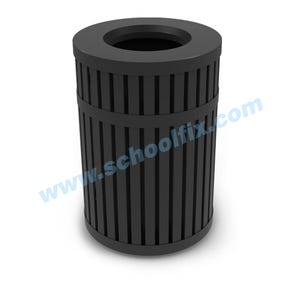 45 Gal Trash Can Vertical Slat Design and Flat Top Lid with 12in Opening K44TT