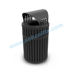 45 Gal Capacity Trash Can with Vertical Slat Design and Weather Dome Top K44WD