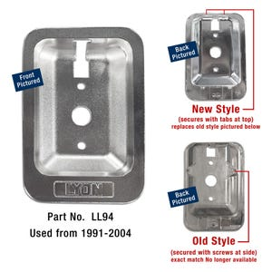 New Style Lyon Locker Handle Case, Recessed, 1991-2004, Replacement Locker Part LL94