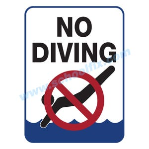 18in. x 24in. No Diving with Symbol Aluminum Sign M102