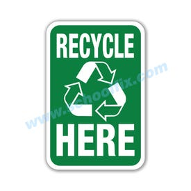 12in. x 18in. Recycle Here Aluminum Sign Part No. M108