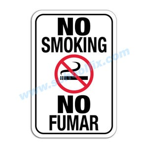 No Smoking With Symbol Bilingual Aluminum Sign Part No. M216 M176
