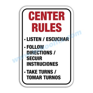 12in. x 18in. Center Rules Bilingual Aluminum Sign M284