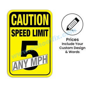 Caution Speed Limit Any MPH Semi-Custom Aluminum Sign M332 M488