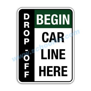 Side Bar Display Drop-Off Begin Car Line Here Aluminum Sign M804 M805