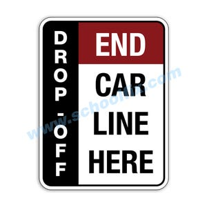 Side Bar Display Drop-Off End Car Line Here Aluminum Sign M806 M807