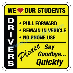 24in. x 24in. Drivers Rules for Student Drop-Off Aluminum Sign M938