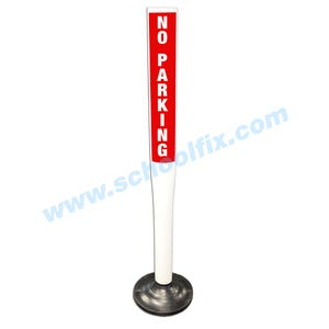 36in. Flexible Message Delineator Post No Parking White Red MDP32