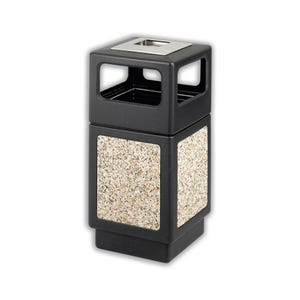 Outdoor 38 Gallon Capacity Trash Can with Molded In Aggregate and Panel Urn Lid