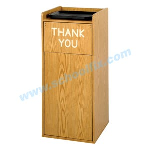 36 Gallon Wood Cafeteria Trash Receptacle / Container