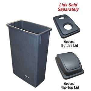 24 Gallon Capacity Trash Can without Lid in Gray RV24