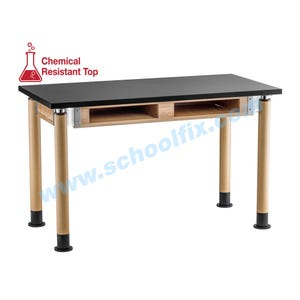 Science Lab Table or Desk with Round Adjustable Legs with Book Boxes