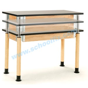 Science Lab Table or Desk with Round Adjustable Legs without Book Boxes