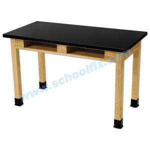 Science Lab Table or Desk with Square Fixed Legs with Book Boxes