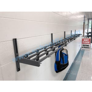 Part No. MGK2, MGK4, MGK5, MGK6, MGK8, MGK10, MGK12, MGK16 Single Shelf Steel Hook & Rail Coat Rack