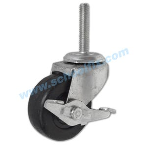 Threaded Stem Single Solid Rubber Wheel Casters w/Brakes 205WB, 206WB, 211WB, 207WB, 213WB, 217WB, 219WB