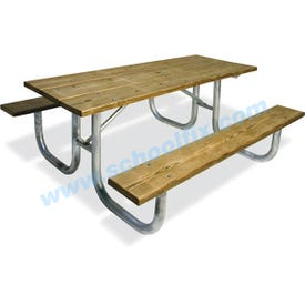 Galvanized Frame Picnic Table with Wood Planks