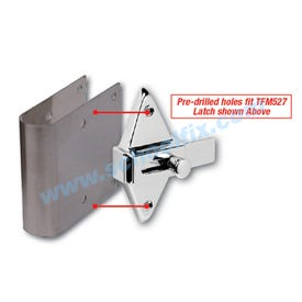 Stainless Steel Latch Cover Plate for Round Edge Bathroom Stalls TS642