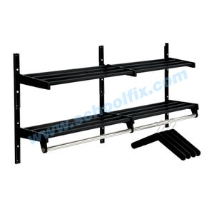 Part No. MDH2, MDH4, MDH5, MDH6, MDH8, MDH10, MDH12, MDH16 Double Shelf Steel Hanger & Rail Coat Rack