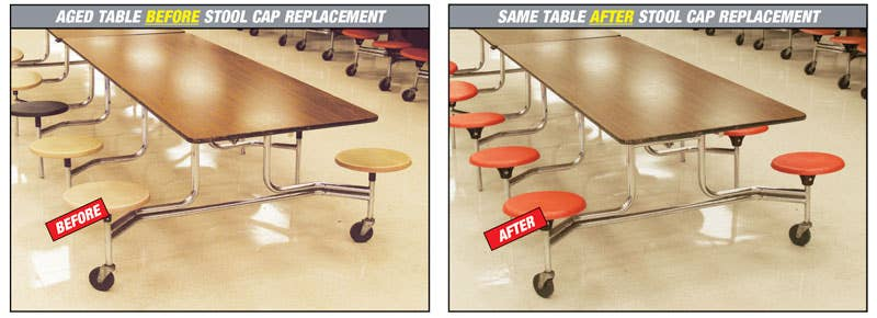 Renovated Cafeteria Tables with New Stool Seating