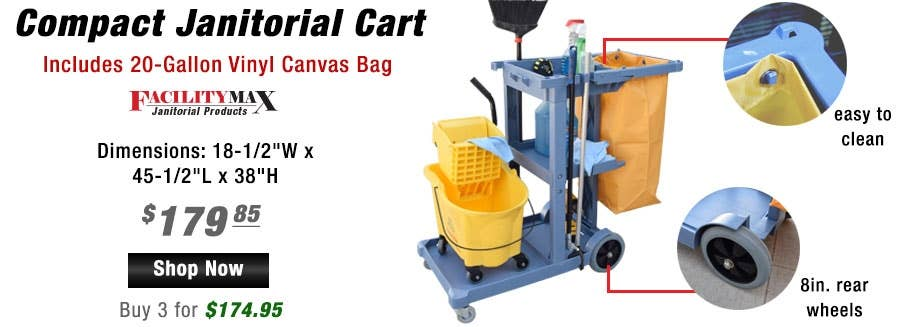 Compact Janitorial Cart with enough storage for a vacuum or mop bucket and other janitorial tools