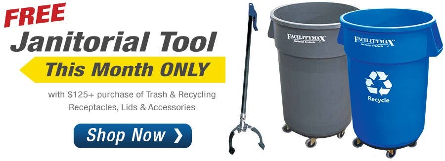 FREE Janitorial Tool with purchase of these Select Trash Receptacles & Accessories use code: RCP18