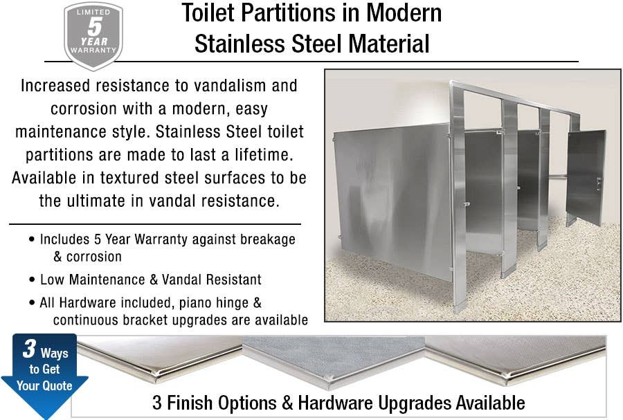Toilet Partitions in Our Most Popular Stainless Steel Material