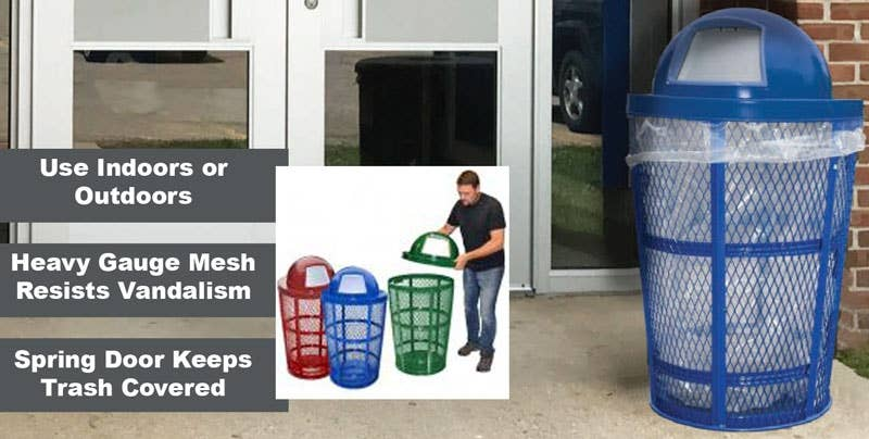 Indoor Outdoor Mesh Steel Trash Receptacles - Click to Shop School Fix Catalog